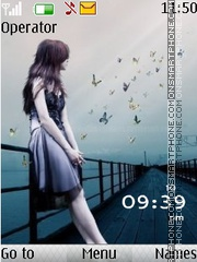 Alone Girl Clock tema screenshot