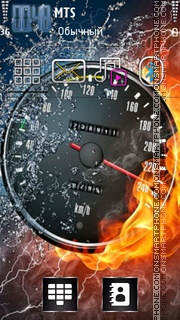 Скриншот темы Fire speedometer