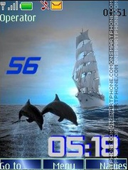 Waves a sail dolphins swf theme screenshot