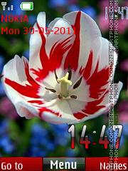 Скриншот темы Red Flower Clock